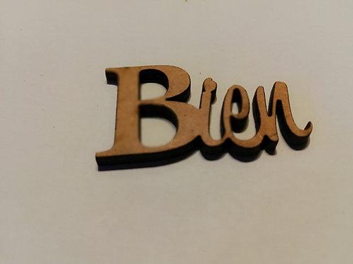 embellissement bois 2 mm Bien  3 x 4 cm