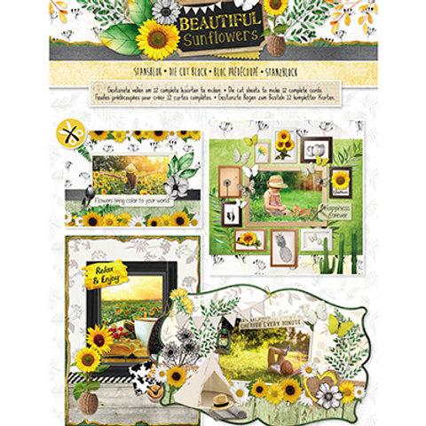 DIE CUTS bloc A4 pour créer 12 cartes sun flowers