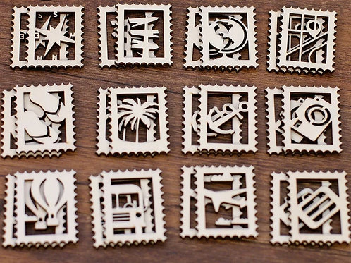 Embellissement lot de 4 timbres