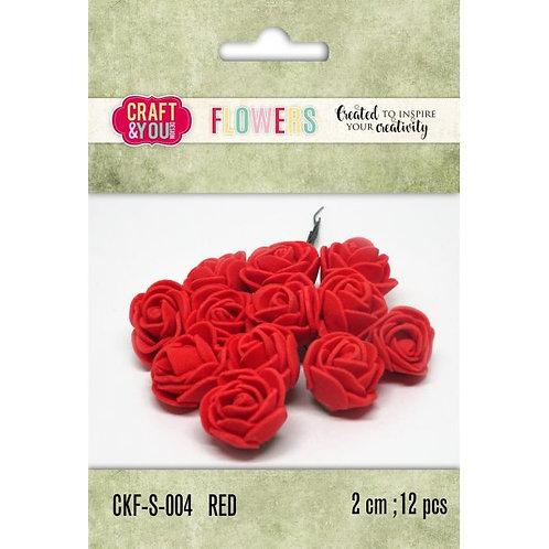 Lot de roses en mousse 12 pièces 2 cm