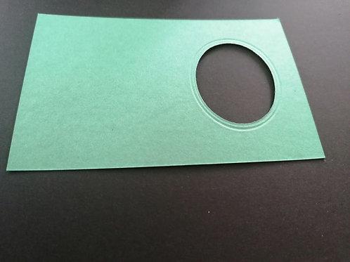 mini double carte Bleu turquoise Ovale 6x8 cm