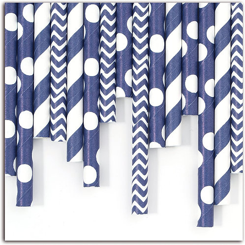 24 Pailles bleues differents motifs