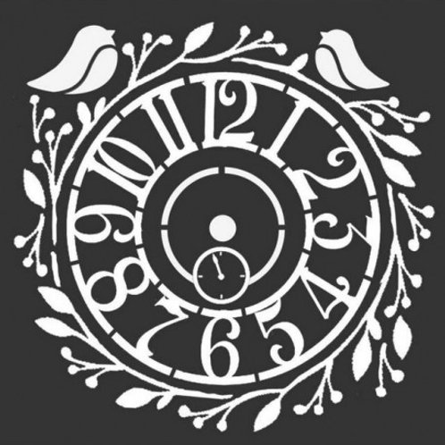 Pochoir Stamperia horloge et oiseau
