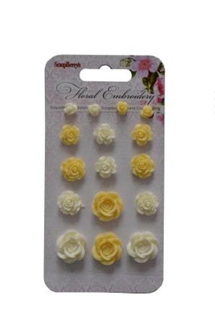 Lot de fleurs en résines  blanc et jaune