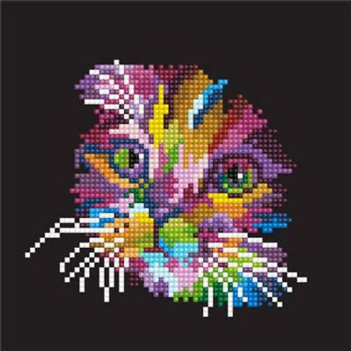 Broderie diamant chat multicolore