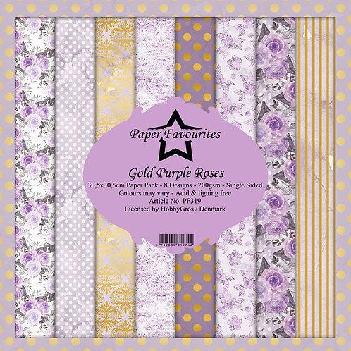 Papiers Paper Favourites 30,5 x 30,5 cm gold purple roses