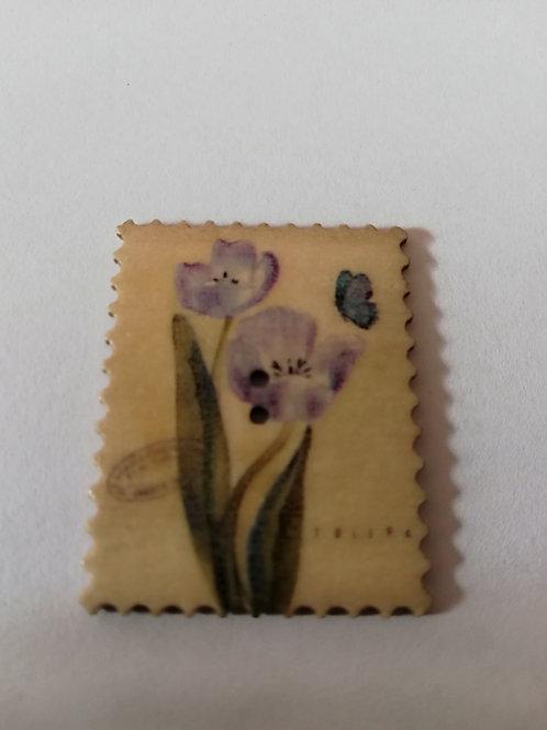 embellissement bois timbre fleur