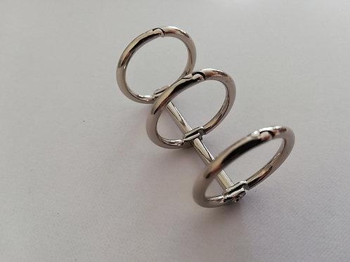 Triple anneaux de reliure  argenté 20 mm