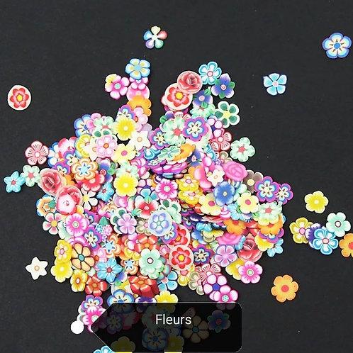 Tranche ultra fine en Fimo Fleurs environ x100