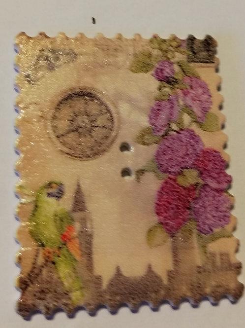 embellissement bois timbre flowers boussole