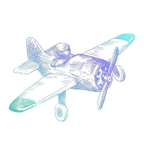 Tampon Clear 5x3 cm avion