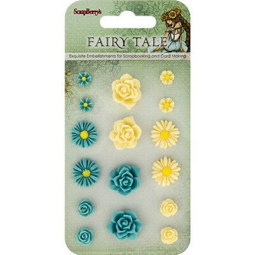 Lot de fleurs en résine bleu jaune