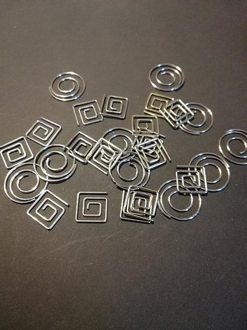 Lot de 10 paper clip rond carré 15 mm argent