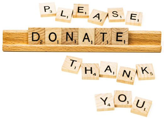 "Scrabble letters spellin ""Please Donate Thank You"""