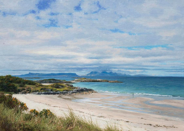 The Isles of Eigg and Rum from Camusdarach Beach, West Scotland