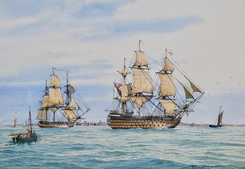 HMS Victory Leaving Portsmouth