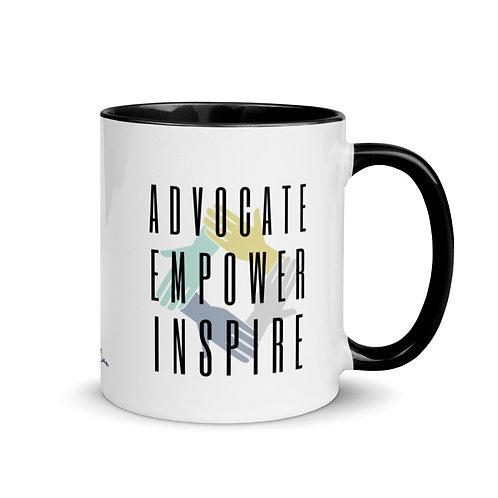 Advocate, Empower Inspire Mug With Color Inside