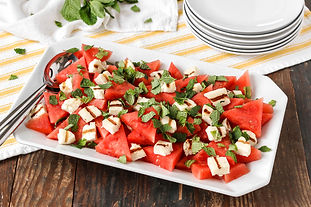 Watermelon, Mint, and Grilled Halloumi Salad