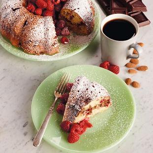 Raspberry Coffee Cake with Chocolate-Almond Streusel Swirl