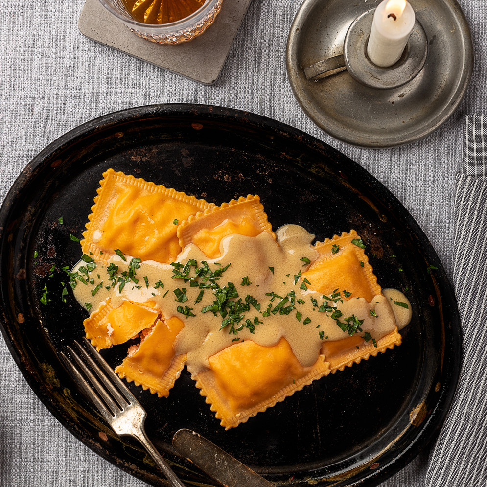 Lobster Ravioli in Sherry Cream Sauce