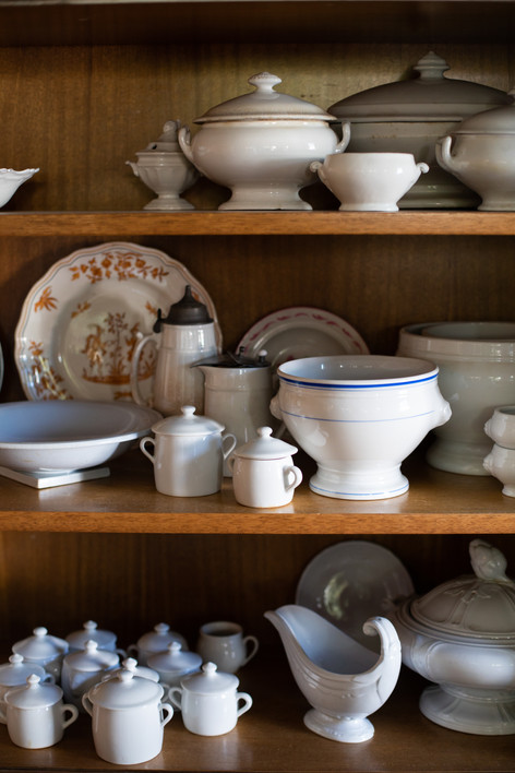 Props Kelty uses in the food photography she styles are also artfully arranged throughout her Buxton home.