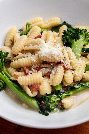 Gnocchetti Sardi with Pancetta, Broccolini, and Parmesan Chicken Broth