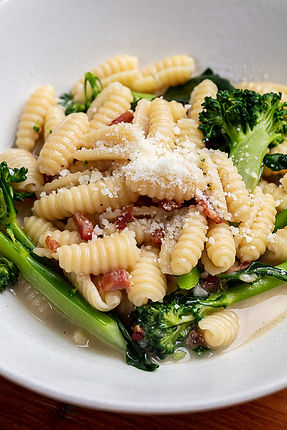 Gnocchetti Sardi with Pancetta, Broccolini, and Parmesan Chicken Broth