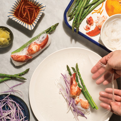 Lobster, Asparagus, and Daikon Summer Rolls with Orange, Sesame, and Chile Dipping Sauce