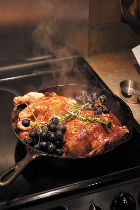 A cast iorn pan cooks these game hens perfectly-and lends a rustic touch