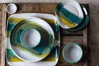 Maine inspired tableware in Lulu's Ocean glaze