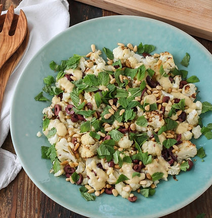 Roasted Cauliflower with Pine Nuts and Lemon Tahini Dressing
