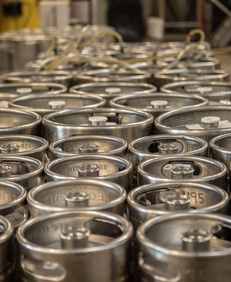 Kegs waiting to be filled and distributed