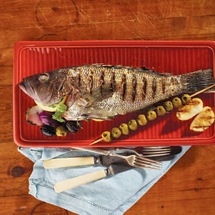 Mediterranean Stuffed and Grilled Black Sea Bass