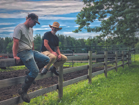 "Farmer Dan and his farm manager Percy Lorette, ""shootin' the breeze"""