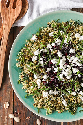 Dandelion Greens Quinoa Salad with Beets and Goat Cheese