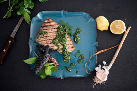 Pinecone grilled swordfish with citrus and herbs