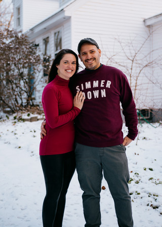 EMIL AND KATY KENNEDY RIVERA STAND OUTSIDE HER PARENTS' HOME IN BRUNSWICK WHERE THEY WERE MARRIED 7 YEARS AGO.