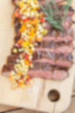Adobo Flank Steak with Corn and Tomato Relish