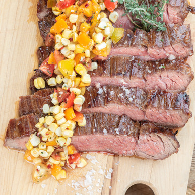 Adobo Flank Steak with Corn and Tomato Relish