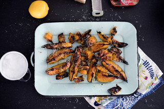 Roasted acorn squash with anchovy herb butter