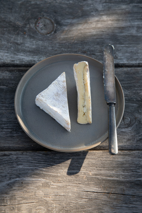 Lakin's Gorges' bloomy-rind rockweed cheese has a ribbon of bladderwrack seaweed running through its center