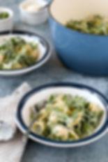 Pasta with Peas, Arugula, and Crème Fraîche