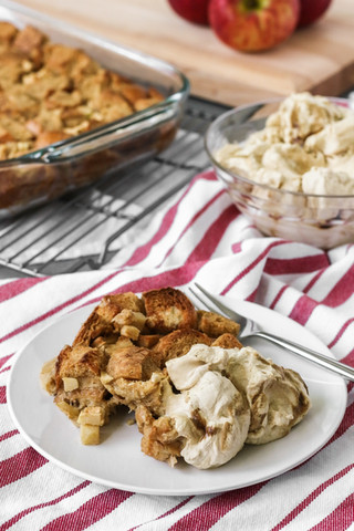 Apple cinnamon bread pudding with molases whipped cream
