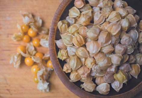 Husk cherries for the cornbread