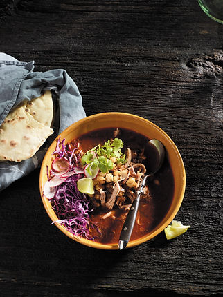 White Posole Stew with Shredded Pork and Chocolate