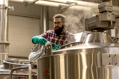 a skilled brewer checks the progress  of what will soon be a delicious pint
