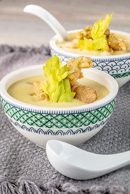 Celery Bisque with Beer-Battered Celery Hearts