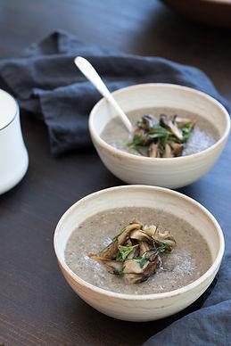 Fall Mushroom Soup with Savory Herbs and Warm Cream