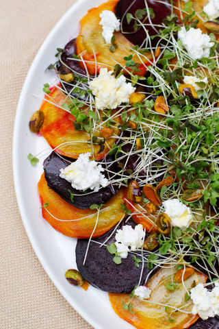 Goat cheese and pistachios add richness and crunch to this beet salad