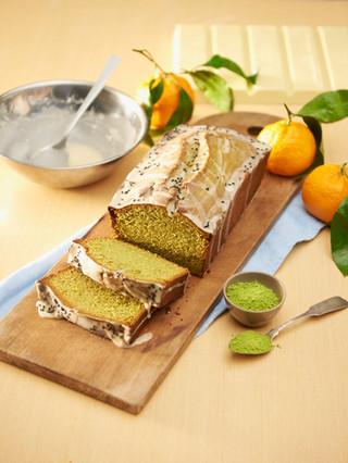 Matcha white chocolate pound cake with tangerine sesame seed glaze